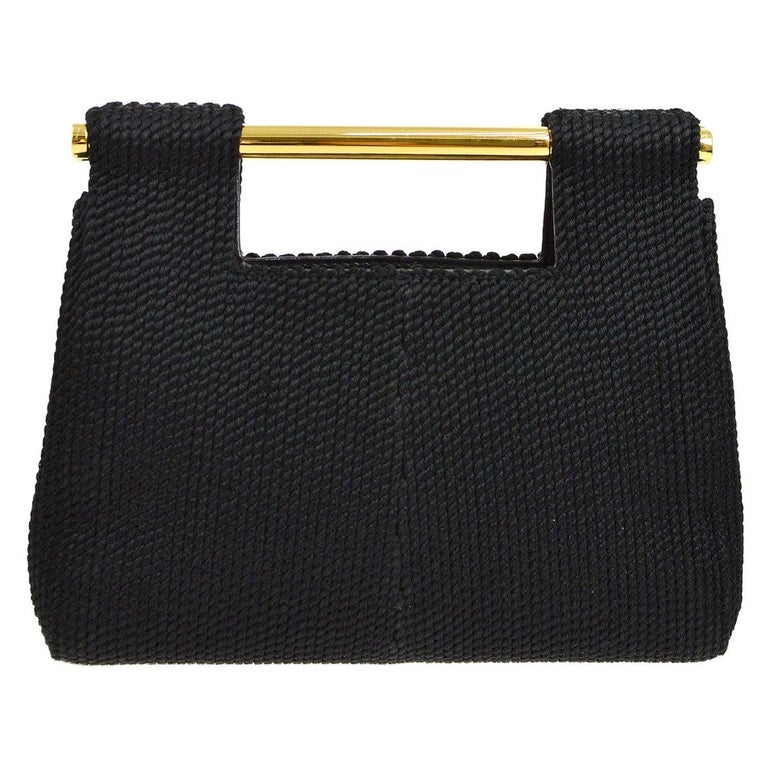 Chanel Black Silk Woven Braided Gold Bar Top Handle Satchel Clutch Bag in Box For Sale