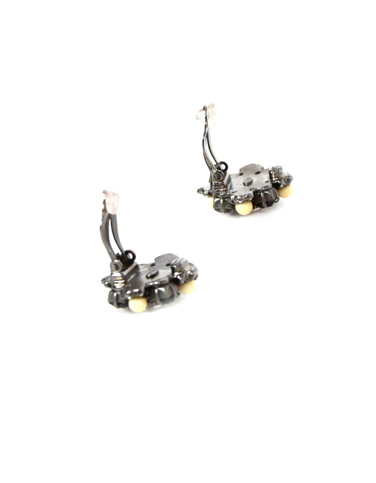 Chanel Black/Silver/Beige Clip On Earrings In Excellent Condition For Sale In New York, NY