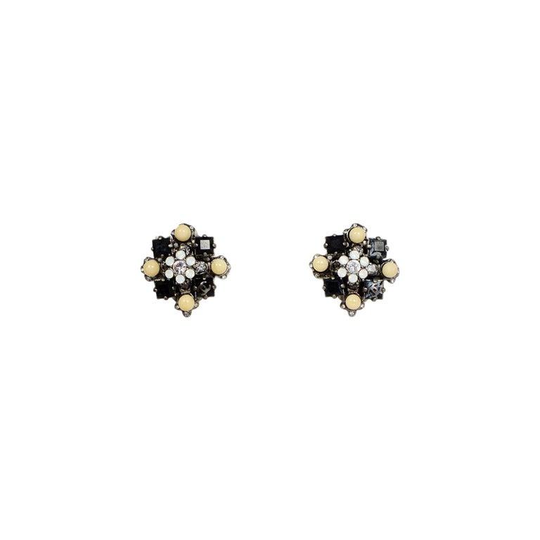 Chanel Black/Silver/Beige Clip On Earrings For Sale