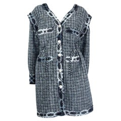 CHANEL black & silver cotton blend V-NECK TWEED Coat Jacket 38 S
