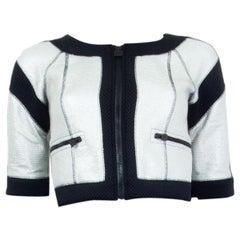 CHANEL black & silver CROPPED SHORT SLEEVE Jacket 34 XXS 07P