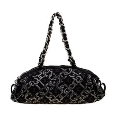 Chanel Black/Silver Fabric Bowler Bag