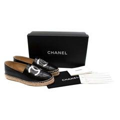 Chanel Black & Silver Lambskin CC Espadrilles - Size EU 36