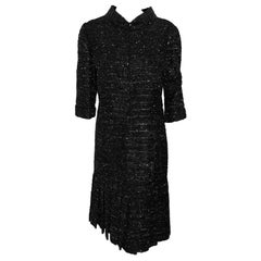 Chanel Black  & Silver Lurex Thread Dress With 3/4 Sleeves Pleated at Hem