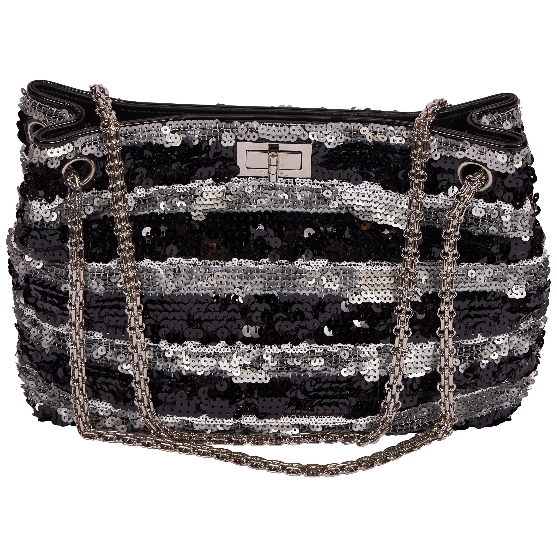 Chanel Black Silver Sequin Reissue Tote Bag