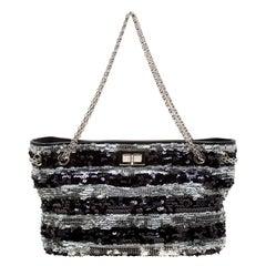 Chanel Black/Silver Stripe Sequins Reissue Shoulder Bag