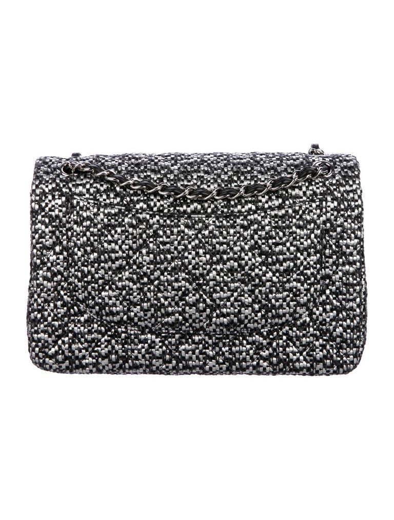 Chanel Black Silver Tweed Leather Silver Large Evening Shoulder Flap Bag In Excellent Condition For Sale In Chicago, IL