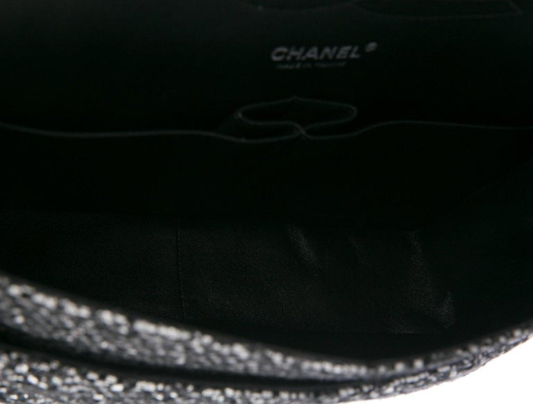 Women's Chanel Black Silver Tweed Leather Silver Large Evening Shoulder Flap Bag For Sale