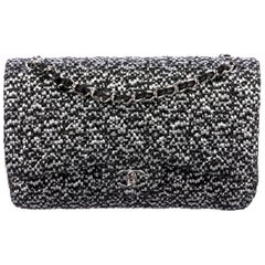 Chanel Black Silver Tweed Leather Silver Large Evening Shoulder Flap Bag