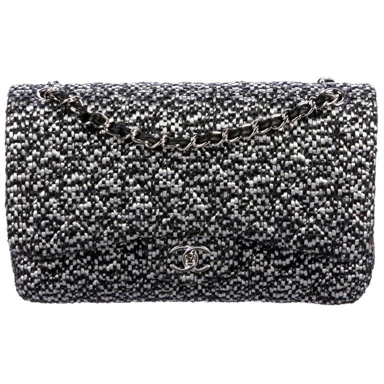 Chanel Black Silver Tweed Leather Silver Large Evening Shoulder Flap Bag For Sale