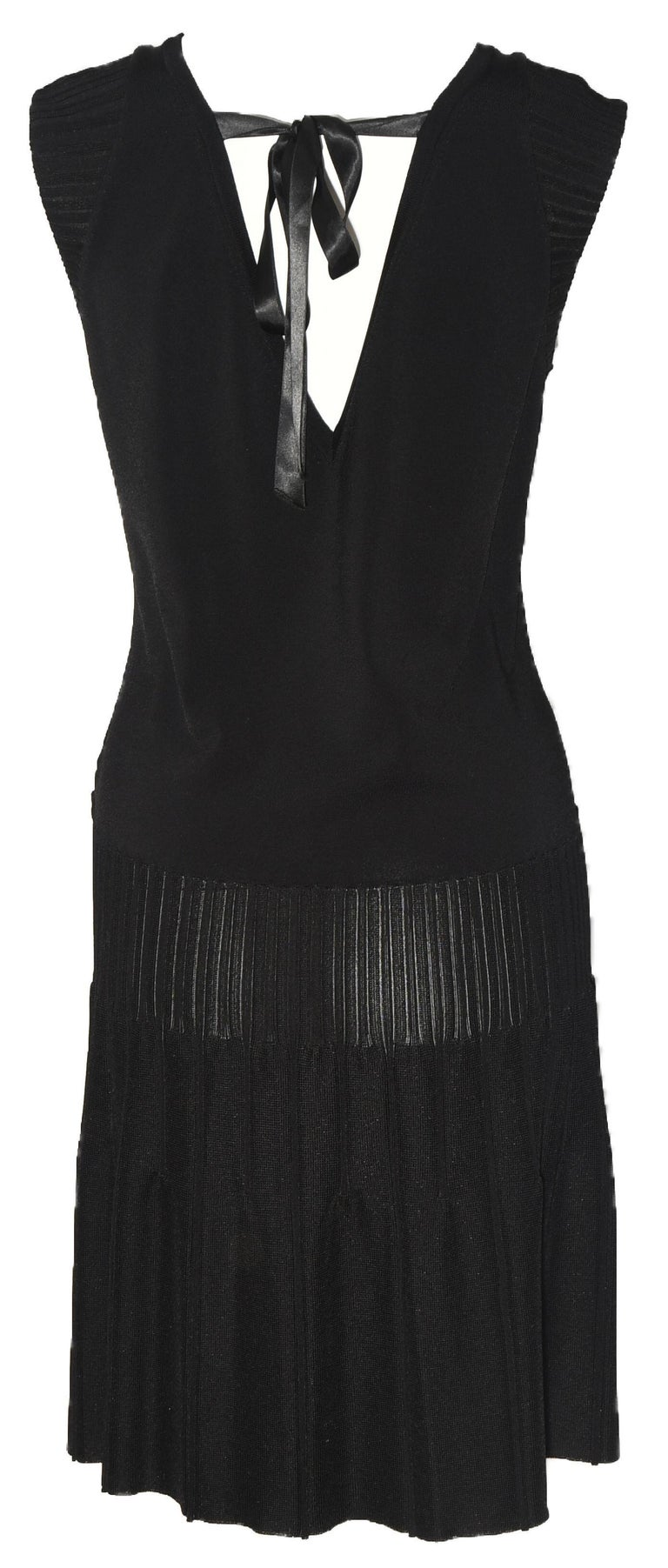 Chanel Black Sleeveless Dress with Peek a boo V Back In Excellent Condition For Sale In Palm Beach, FL