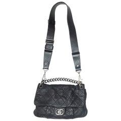 Chanel Black Small Coco Pleats Flap Messenger Bag