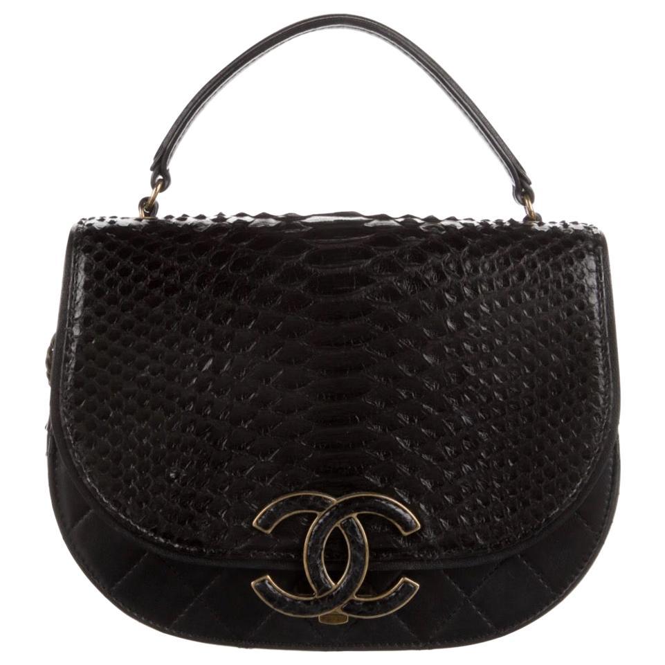 Chanel Black Snakeskin Exotic Leather CC Small Top Handle Satchel Shoulder Bag