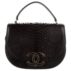 Chanel Black Snakeskin Exotic Leather CC Small Top Handle Satchel Shoulder Bag