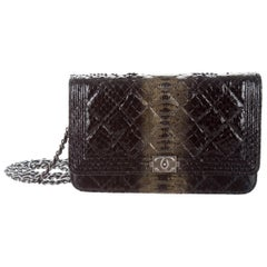 Chanel Black Snakeskin Leather Exotic Gunmetal Boy WOC Shoulder Flap Bag in Box