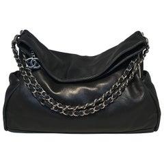 Chanel Black Soft Lambskin Leather Fold Over Shoulder Bag