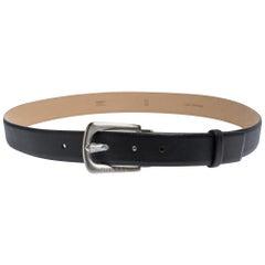 Chanel Black Soft Leather Buckle Belt 95CM