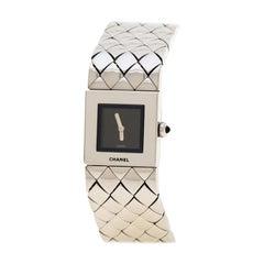 Chanel Black Stainless Steel Matelasse CD34755 Women's Wristwatch 19 mm