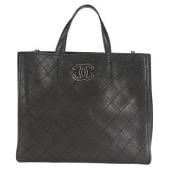 Chanel Black Stitched Grained Calfskin Hamptons Tote