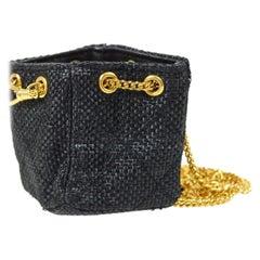 Chanel Black Straw Gold Small Micro Mini Top Handle Evening Satchel Shoulder Bag