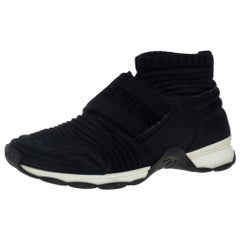Chanel Black Stretch Fabric High Top Socks Sneakers Size 36.5