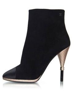 Chanel Black Suede & Satin Cap-Toe Ankle Boots Sz 39C NEW
