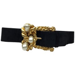 Chanel Black Suede Belt w/ Gold Rope & Pearl Buckle- Circa Late 90's