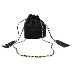 Chanel Black Suede Bucket Bag