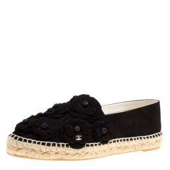 Chanel Black Suede CC Camellia Espadrilles Size 41