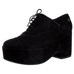 Chanel Black Suede CC Lace Platform Oxfords Size 40.5