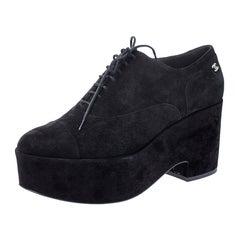 Chanel Black Suede CC Lace Platform Oxfords Size 41