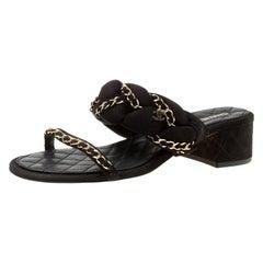 Chanel Black Suede Chain Embellished Flat Slide Sandals Size 40.5