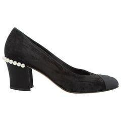 Chanel Black Suede Faux Pearl-Accented Heels