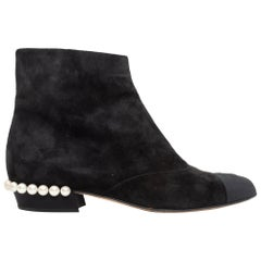 Chanel Black Suede Faux Pearl Ankle Boots