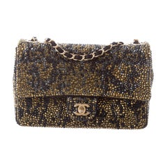 Chanel Black Suede Gray Gold Crystal Medium Evening Shoulder Flap Bag