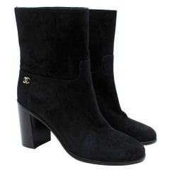 Chanel Black Suede Heeled Ankle Boots - Size 38