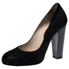 Chanel Black Suede Leather Cap Toe CC Pumps Size 39