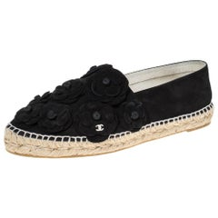 Chanel Black Suede Leather CC Camellia Flower Espadrilles Flats Size 41