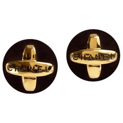 Chanel Black Suede Maltese Cross Earrings