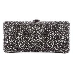 Chanel Black Suede Pearl Chain Logo Evening Envelope Shoulder Box Clutch Bag