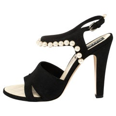 Chanel Black Suede Pearl Embellishment Sandals Size 39