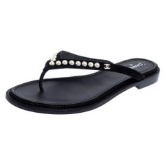Chanel Black Suede Pearl Thong Flat Sandals Size 41