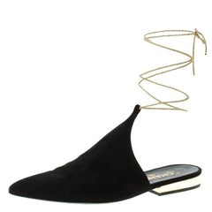 Chanel Black Suede Pointed Toe Ankle Wrap Mules Size 39.5