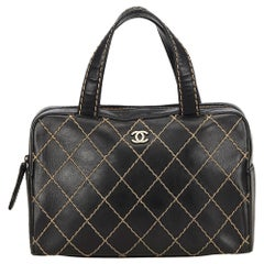 Chanel Black Surpique Leather Handbag