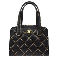 Chanel Black Tan Piping Leather Gold Small Mini Top Handle Satchel Bag