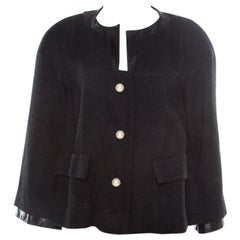 Chanel Black Textured Knit Leather Trim Logo Pearl Button Jacket M