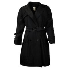 Chanel Black Trench Coat with CC Buttons & Belt sz L