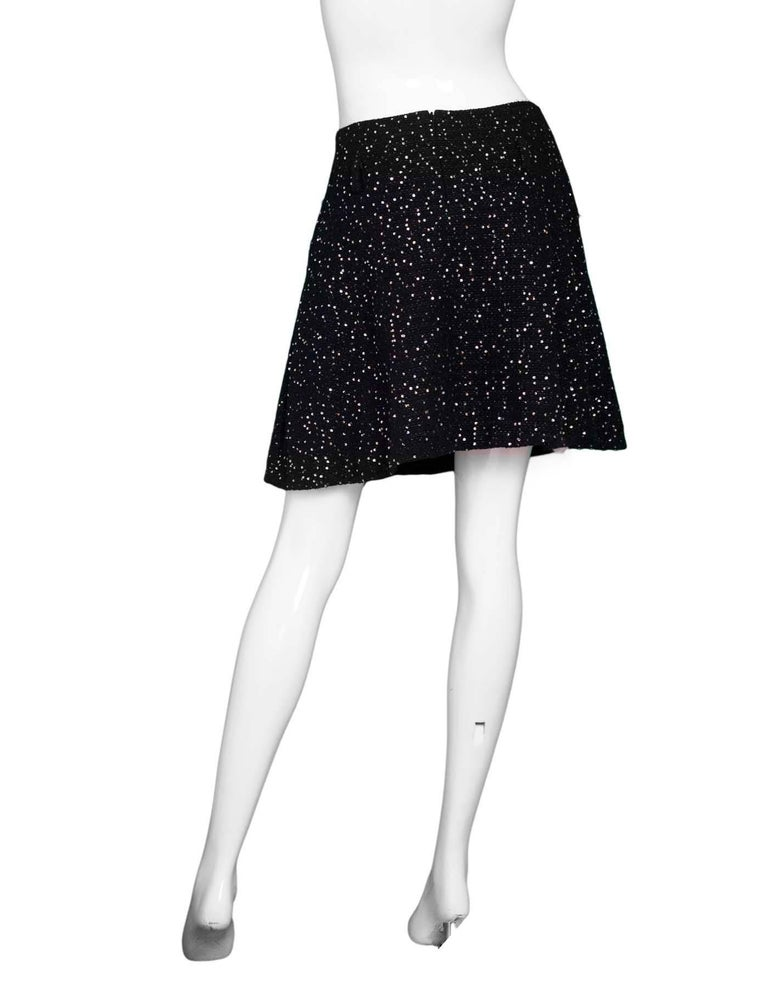 80cf9090e Chanel Black Tweed and Sequin Flared Skirt Sz FR40 For Sale at 1stdibs