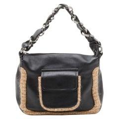 Chanel Black Tweed and Leather Shoulder Bag