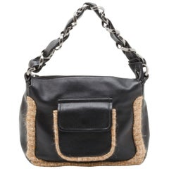 Chanel Black Tweed and Leather Shoulder Bag
